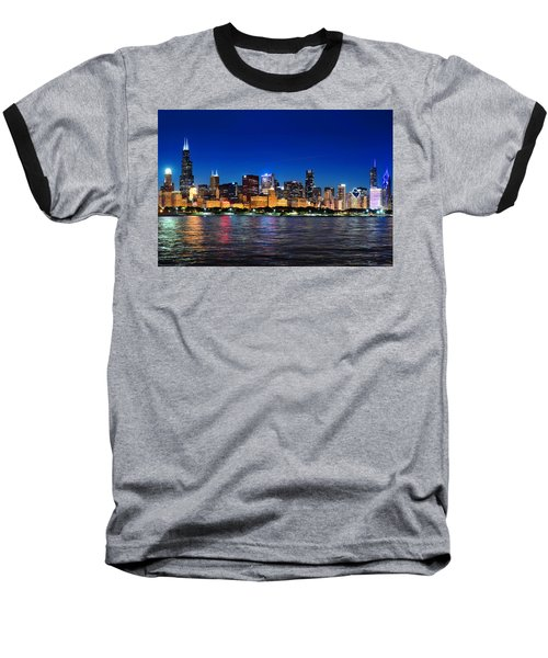 Chicago Shorline At Night Baseball T-Shirt