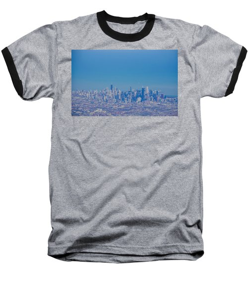 Baseball T-Shirt featuring the photograph Chicago Skyline Aerial View by Deborah Smolinske