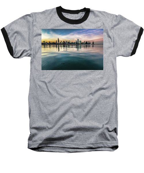 Chicago Skyline And Fish At Dusk Baseball T-Shirt