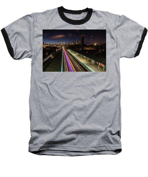 Chicago Skyline And Train Lights Baseball T-Shirt