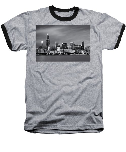 Chicago Skyline At Night Black And White  Baseball T-Shirt by Adam Romanowicz