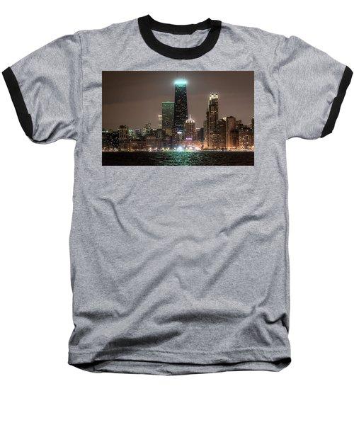 Chicago Skyline At Night North Ave Beach V2 Dsc1732 Baseball T-Shirt by Raymond Kunst