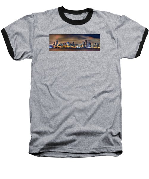 Chicago Skyline At Night Panorama Color 1 To 3 Ratio Baseball T-Shirt by Jon Holiday