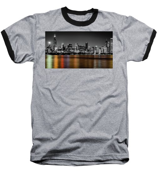 Chicago Skyline - Black And White With Color Reflection Baseball T-Shirt
