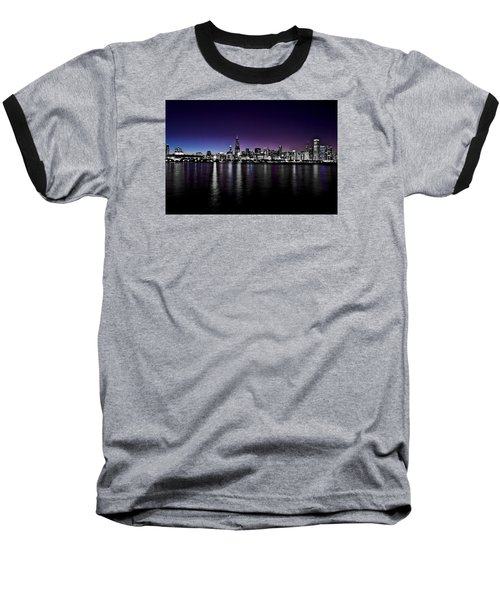 Baseball T-Shirt featuring the photograph Chicago Skyline Bnw With Blue-purple by Richard Zentner