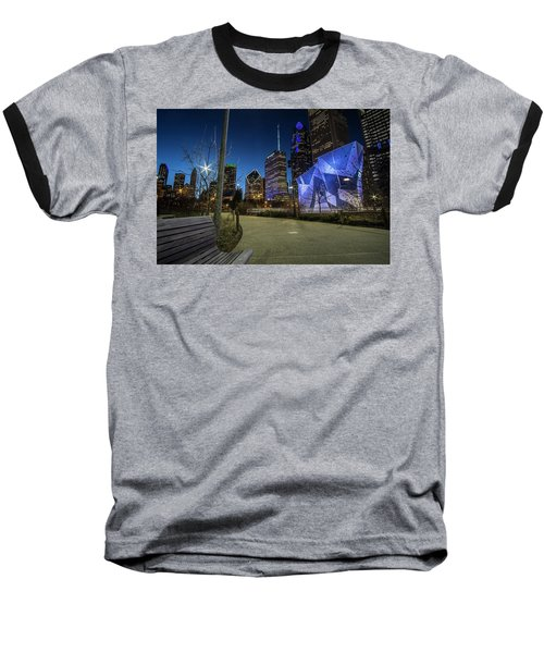 Chicago Skyline Form Maggie Daley Park At  Dusk Baseball T-Shirt