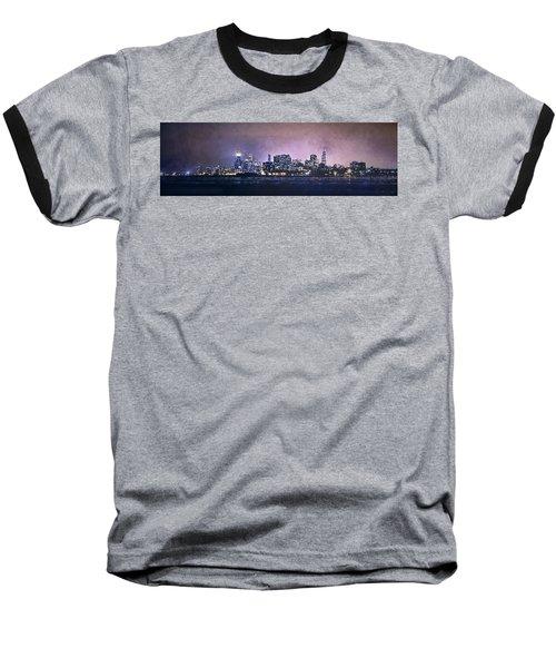 Chicago Skyline From Evanston Baseball T-Shirt by Scott Norris