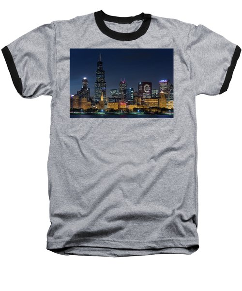 Baseball T-Shirt featuring the photograph Chicago Skyline Go Gubs  by Emmanuel Panagiotakis
