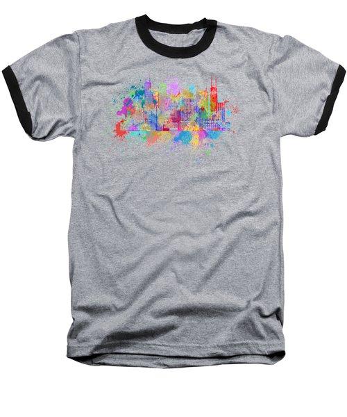 Chicago Skyline Paint Splatter Illustration Baseball T-Shirt by Jit Lim