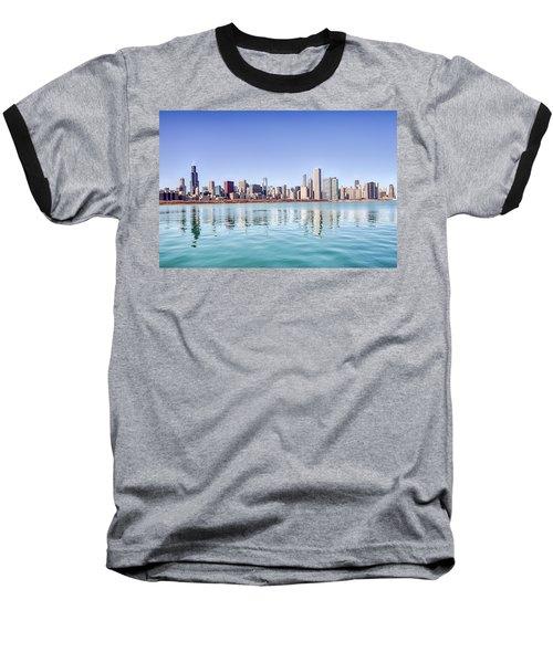 Chicago Skyline Reflecting In Lake Michigan Baseball T-Shirt by Peter Ciro