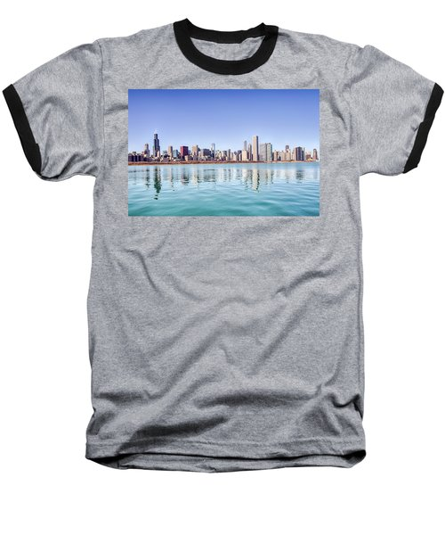 Chicago Skyline Reflecting In Lake Michigan Baseball T-Shirt