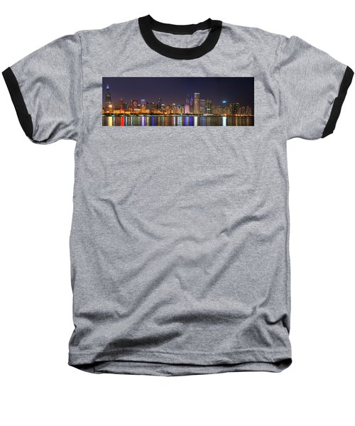 Chicago Skyline With Cubs World Series Lights Night, Chicago, Cook County, Illinois,  Baseball T-Shirt
