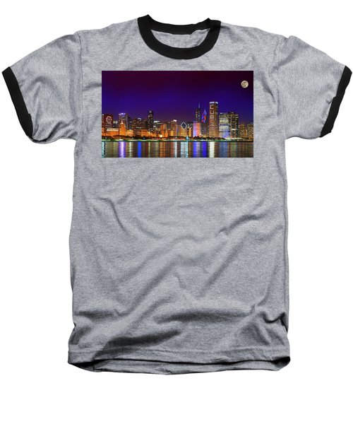 Chicago Skyline With Cubs World Series Lights Night, Moonrise, Lake Michigan, Chicago, Illinois Baseball T-Shirt