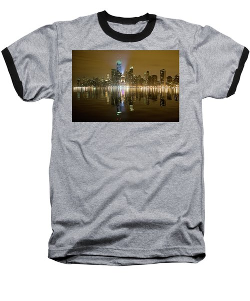 Chicago Skyline With Lindbergh Beacon On Palmolive Building Baseball T-Shirt