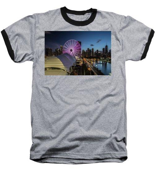 Chicago Skyline With New Ferris Wheel At Dusk Baseball T-Shirt
