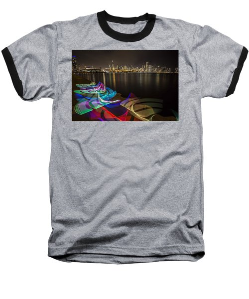 Chicago Skyline With Pixel Stick Painting Baseball T-Shirt