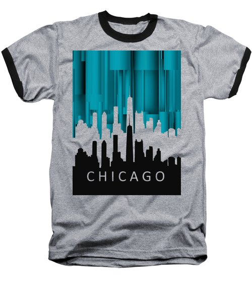 Chicago Turqoise Vertical In Negetive Baseball T-Shirt by Alberto RuiZ