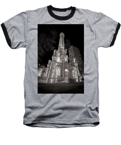Chicago Water Tower Baseball T-Shirt by Adam Romanowicz