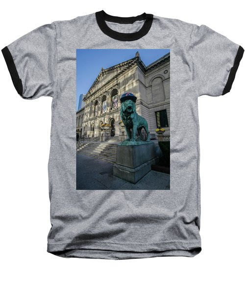 Chicago's Art Institute With Cubs Hat Baseball T-Shirt