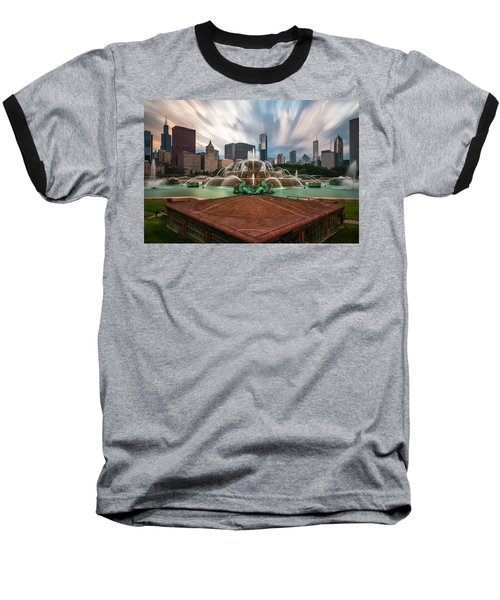 Baseball T-Shirt featuring the photograph Chicago's Buckingham Fountain by Sean Foster