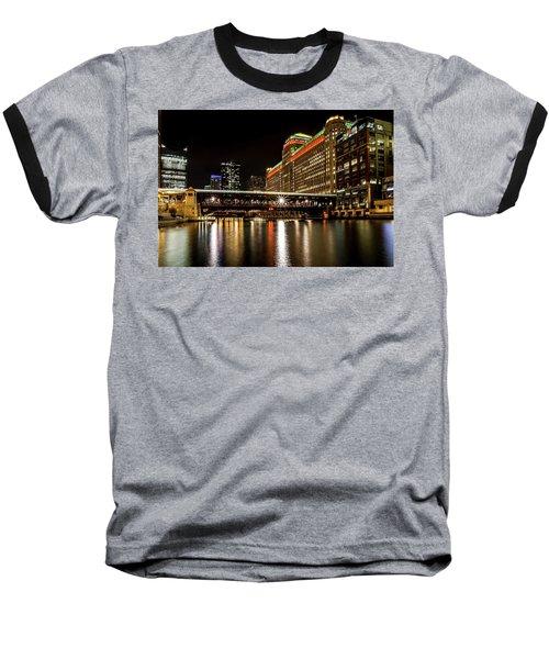 Chicago's Merchandise Mart At Night Baseball T-Shirt
