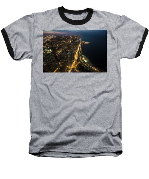 Chicago's North Side From Above At Night  Baseball T-Shirt