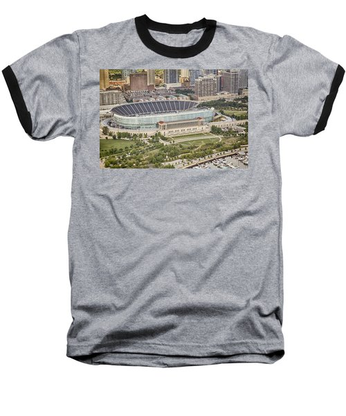 Chicago's Soldier Field Aerial Baseball T-Shirt by Adam Romanowicz