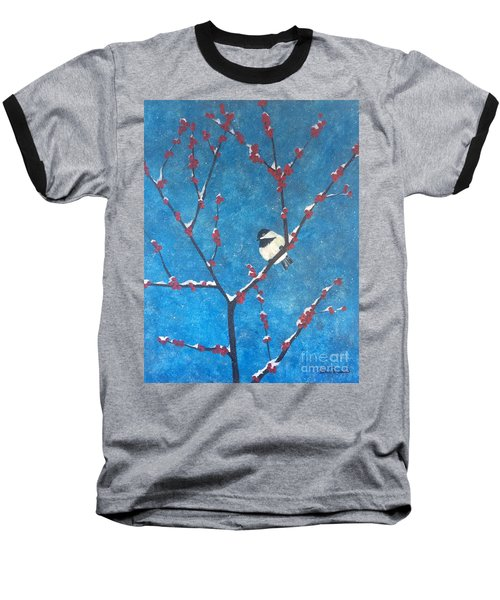 Baseball T-Shirt featuring the painting Chickadee Bird by Denise Tomasura