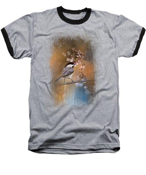 Chickadee In The Garden Baseball T-Shirt by Jai Johnson