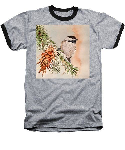 Chickadee In The Pine Baseball T-Shirt