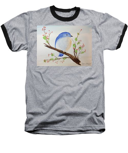 Chickadee On A Branch With Leaves Baseball T-Shirt