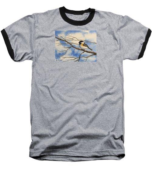 Chickadee On Branch Baseball T-Shirt