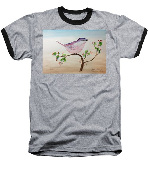 Chickadee Standing On A Branch Looking Baseball T-Shirt