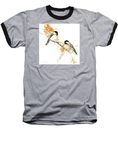 Chickadees And Orange Flowers Baseball T-Shirt by Suren Nersisyan