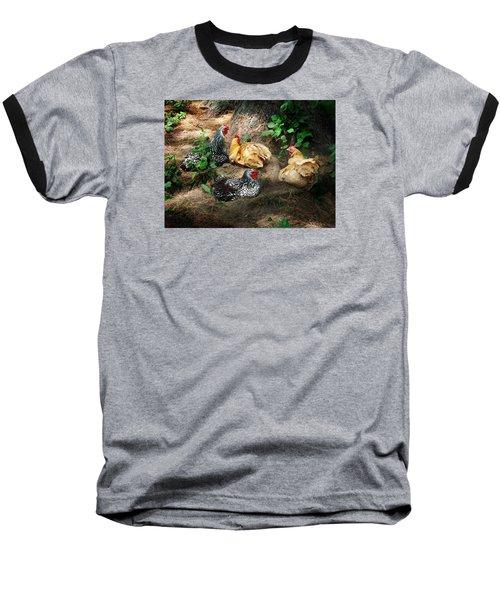 Chicken Dust Bath Party Baseball T-Shirt