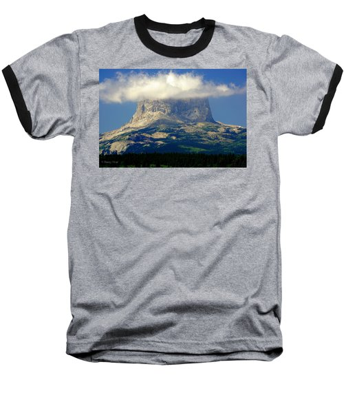 Chief Mountain, With Its Head In The Clouds Baseball T-Shirt