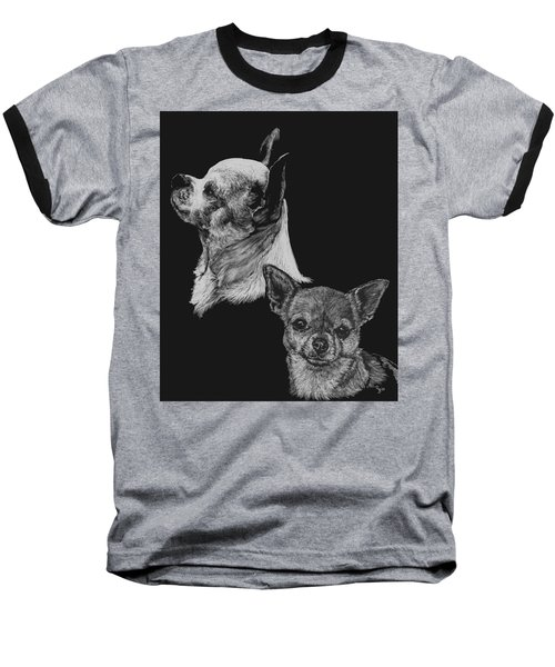 Baseball T-Shirt featuring the drawing Chihuahua by Rachel Hames