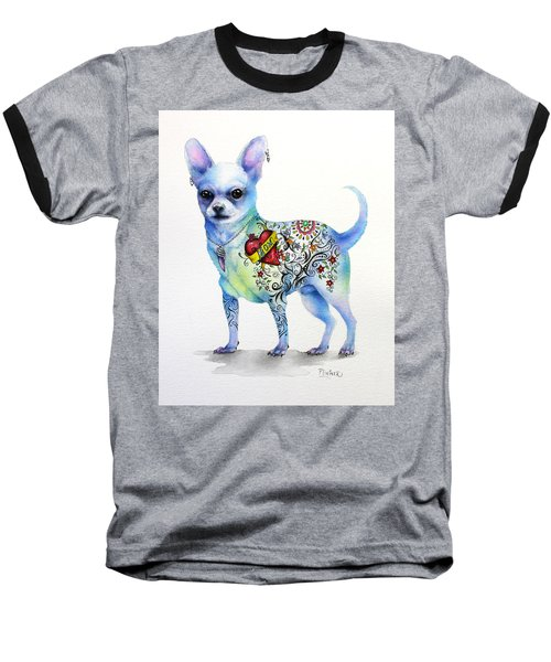 Baseball T-Shirt featuring the painting Chihuahua Topo by Patricia Lintner