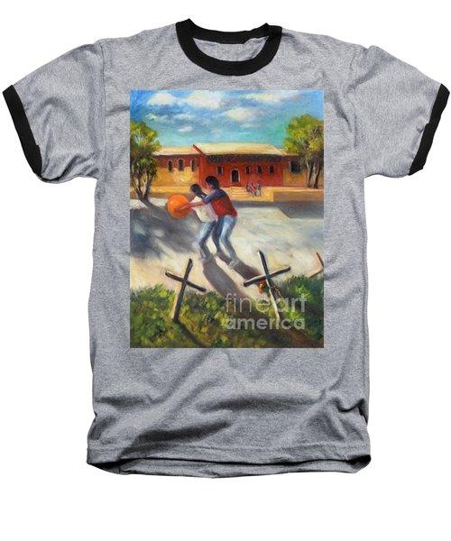 Baseball T-Shirt featuring the painting Tres Cruces De La Juventud Y La Vejez by Randol Burns
