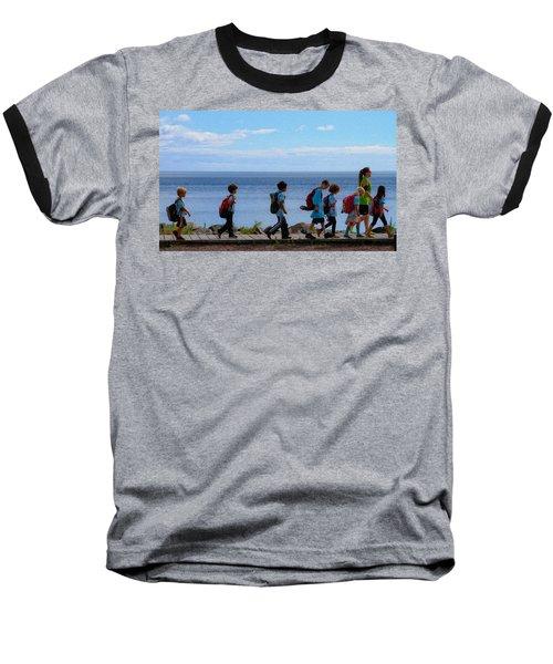 Children On Lake Walk Baseball T-Shirt