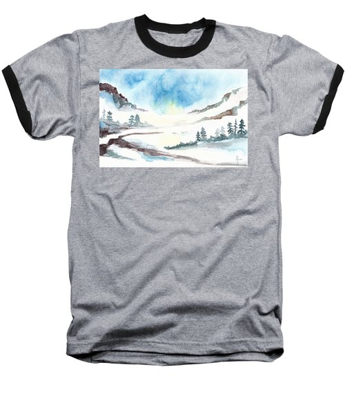 Children's Book Illustration Of Mountains Baseball T-Shirt