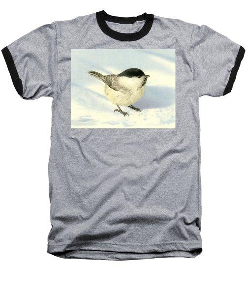 Chilly Chickadee Baseball T-Shirt by Sarah Batalka