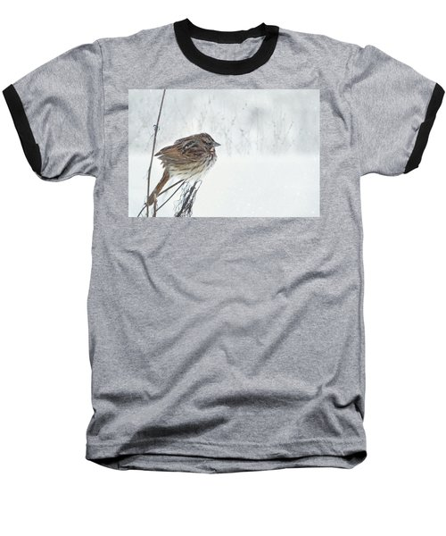 Baseball T-Shirt featuring the mixed media Chilly Song Sparrow by Lori Deiter