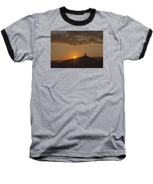 Chimney Rock Sunset Baseball T-Shirt by Laura Pratt