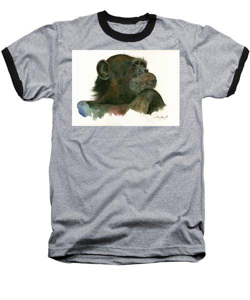 Chimp Portrait Baseball T-Shirt by Juan Bosco