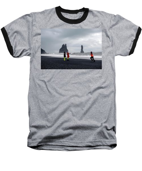 Baseball T-Shirt featuring the photograph China's Tourists In Reynisfjara Black Sand Beach, Iceland by Dubi Roman