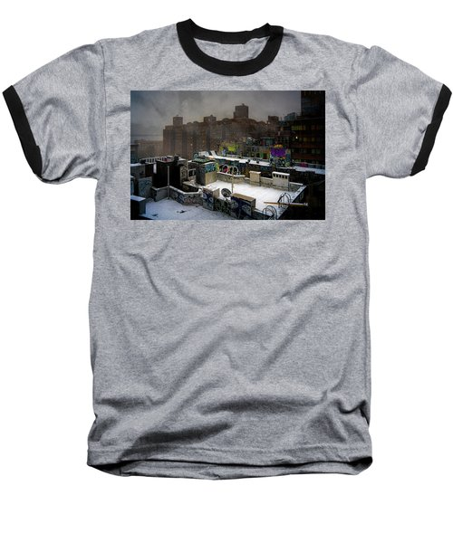 Baseball T-Shirt featuring the photograph Chinatown Rooftops In Winter by Chris Lord