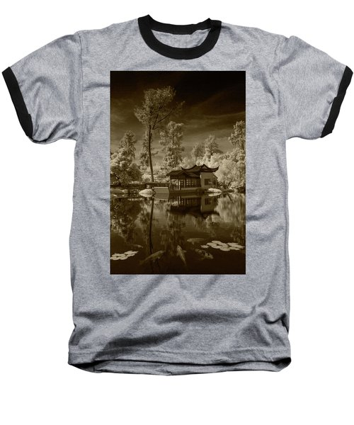 Baseball T-Shirt featuring the photograph Chinese Botanical Garden In California With Koi Fish In Sepia Tone by Randall Nyhof