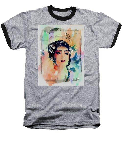 Chinese Cultural Girl - Digital Watercolor  Baseball T-Shirt
