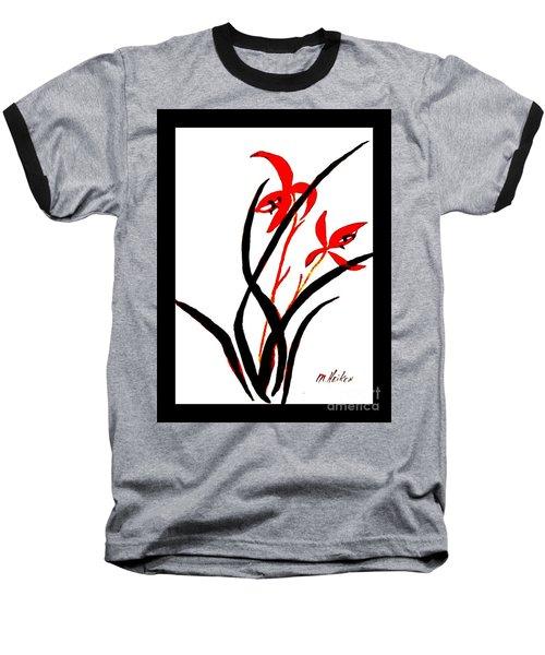 Chinese Flowers Baseball T-Shirt by Marsha Heiken